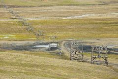 View to the abandoned arctic coal mine equipment in Longyearbyen, Norway. Royalty Free Stock Images