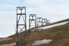 View to the abandoned arctic coal mine equipment in Longyearbyen, Norway. Stock Photography