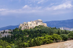 View to the Acropolis and the city, Athens. Greece stock images