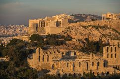 View to Acropolis with Propylaea and The Odeon of Herodes Atticus Theatre. Athens Stock Photos