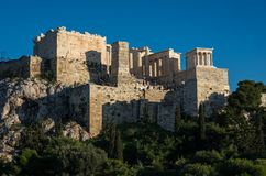 View to Acropolis with Propylaea and Temple of Athena Nike, Athens, Greece royalty free stock photography