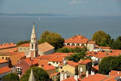 View to Adriatic sea from a town tower top in Croatia Royalty Free Stock Photo