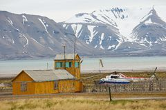 View to airport in the abandoned Russian arctic settlement Pyramiden, Norway. Royalty Free Stock Photo