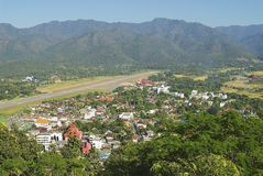 View to the airport stripe and town of Mae Hong Son, Thailand. Royalty Free Stock Photos