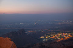 Al Ain, UAE. View to Al Ain (4th largest city in UAE), from the top of Jebel Hafeet mountain. Just after sunset Royalty Free Stock Photos