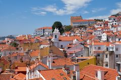 The view to Alfama from the high place. Lisbon. Portugal. Stock Photos