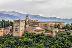 View to Alhambra. Historical building in Granada Spain stock photography