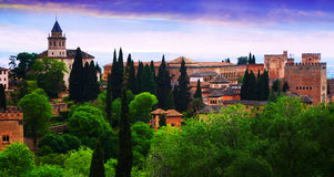 View to   Alhambra in twilight time.  Granada Royalty Free Stock Photo