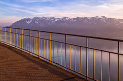 View to the Alpine mountains and Lake Geneva Royalty Free Stock Photography