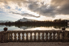 View to the Alps over a lake Royalty Free Stock Image
