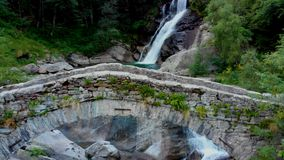 View to amasing waterfall in mountains stock video