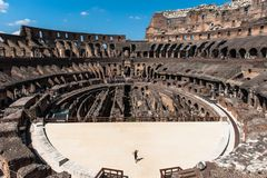 View to the amphitheater inside of Colosseum in Rome, Italy Royalty Free Stock Image