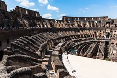 View to the amphitheater inside of Colosseum in Rome, Italy Stock Images