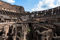 View to the amphitheater inside of Colosseum in Rome, Italy Royalty Free Stock Photos