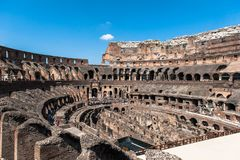 View to the amphitheater inside of Colosseum in Rome, Italy Royalty Free Stock Images