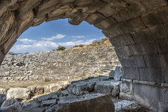 View to amphitheater of Letoon ancient city in Mugla. Turkey Royalty Free Stock Photos