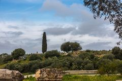 View to the ancient city of Volubilis stock images