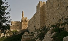 View to ancient Jerusalem's wall and David Tower. Royalty Free Stock Image