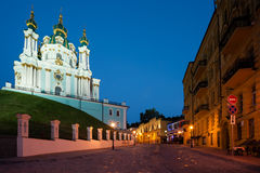View to Andreevsky Church at night Stock Photos
