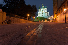 View to Andreevsky Church at night Royalty Free Stock Images
