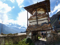 View to Annapurna III in Ghyaru village stock photos