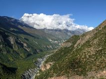 View to Annapurna 3 and Marsyangdi valley from Ghyaru village, Nepal Stock Image