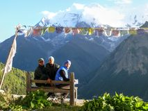 View to Annapurna 2 from seat in Ghyaru, Nepal Royalty Free Stock Photos