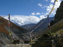 View to Annapurna from Thorong Phedi, Nepal Royalty Free Stock Images
