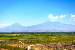 Ararat mountain. View to Ararat mountain from Armenian side Stock Photos