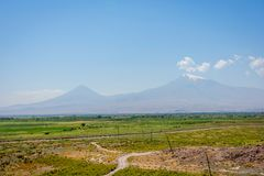 Ararat mountain. View to Ararat mountain from Armenian side Stock Photo