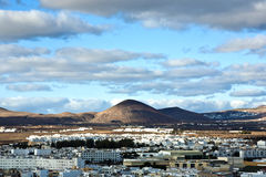 View to Arrecife and the volcanos Stock Images