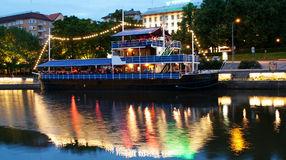 View to the Aura river at night in Turku,Finland Stock Photo