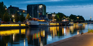 View to the Aura river at night in Turku,Finland Stock Images