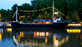 View to the Aura river at night in Turku,Finland Stock Photography