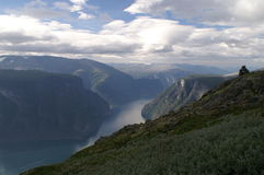 View to the Aurlandsfjord, Norway. View after climbing to the top of a mountain near the Aurlandsfjord Royalty Free Stock Photos