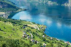 View to the Aurlandsfjord from Stegastein viewpoint in Aurland, Norway. Royalty Free Stock Image