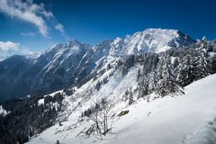 View to Austrian Alps from Rossfeldstrasse stock photo