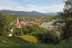 View to bad tolz and the alps, bavarian landscape, germany Royalty Free Stock Image