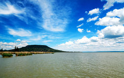 View to Badacsony from Szigliget at Lake Balaton Stock Photos