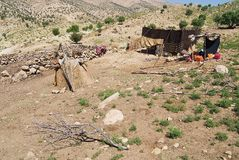 View to the Bakhtiari nomad camp near Yasuj, Iran. Stock Photos