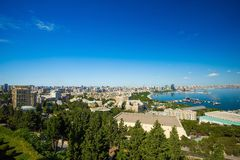 View to Baku city from Upland park Royalty Free Stock Photos