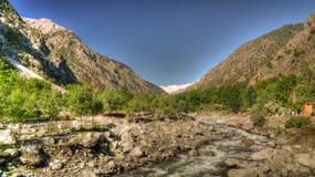 View to Bamboret river and Kalash valley, Chitral, Hindukush Pakistan Stock Image
