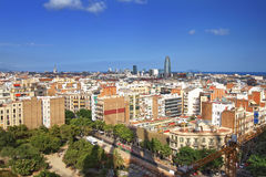 View to Barcelona city center from Sagrada Familia Cathedral Stock Images