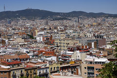 A view to Barcelona from Montjuic hill Royalty Free Stock Images