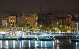 View to Barcelona Port in night stock image