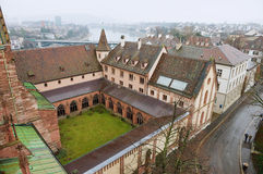 View to the Basel city from Munster tower on a rainy day in Basel, Switzerland. Stock Photos