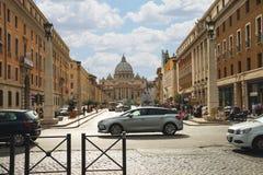 View to Basilica di San Pietro from the Via della Conciliazione. Royalty Free Stock Photography
