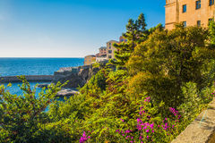 View to Bastia old city center, lighthouse and harbour Stock Photo