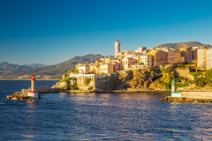 View to Bastia old city center, lighthouse and harbour Stock Photography