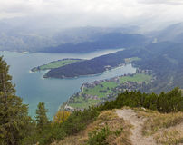 View to bavarian lake walchensee from herzogstand mountain Royalty Free Stock Photo